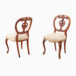 Victorian Carved Walnut Dining Chairs, Set of 6