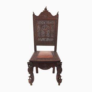 Antiker indischer Beistellstuhl aus geschnitztem Palisander, 1880er