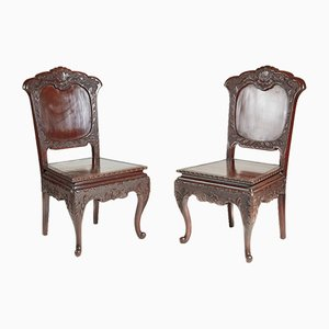 Antique Chinese Lacquered Side Chairs, Set of 2