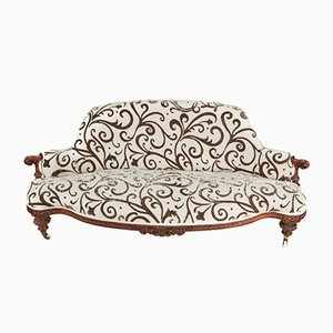 Victorian Carved Walnut Sofa, 1850s