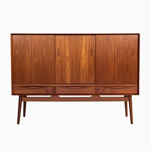 Mid-Century Danish Teak Highboard Bar Cabinet, 1960s