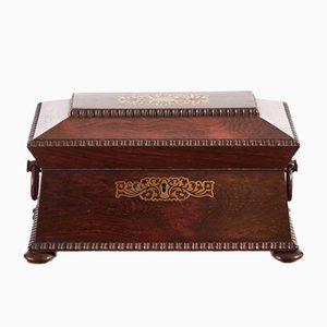 Antike Regency Teebüchse aus Palisander und Messing mit Intarsie