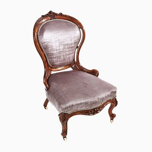 Victorian Carved Walnut Ladies Chair, 1850s