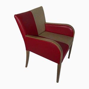 Italienischer Armlehnstuhl aus Holz & Skai, 1960er