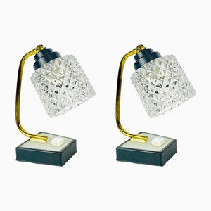 Mid-Century Crystal & Brass Table Lamps, 1960s, Set of 2