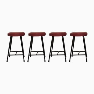 Mid-Century Tubular Steel Stools, Set of 4