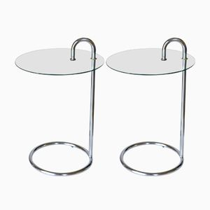 Vintage Chrome & Glass Side Tables, Set of 2