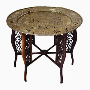 Dragon Carved Table with Brassware Tray Top, 1890s
