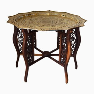 French Dragon Carved Table with Brassware Tray Top, 1890s