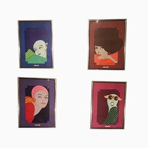 Poster von Walter Ballmer für Olivetti, 1974, 4er Set