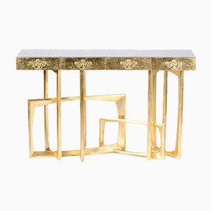 Gold-Framed Mahogany Console with Gold Leaf by Pacific Compagnie Collection