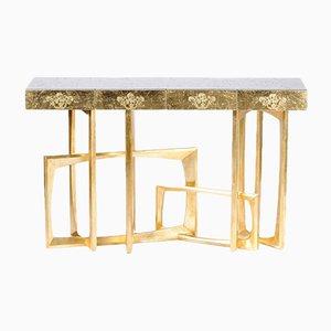 Konsole aus Mahagoni im goldenen Rahmen mit Goldblatt-Motiv von Pacific Compagnie Collection