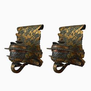 Applique vintage in ferro battuto con patina color bronzo, anni '70, set di 2
