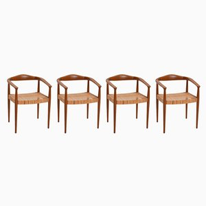 Vintage Danish Teak & Rattan Armchairs, Set of 4