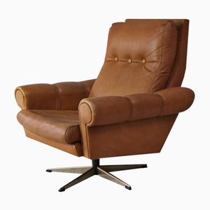Modernist Danish Leather Swivel Lounge Chair, 1970s