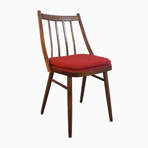 Czech Mid-Century Wood & Red Fabric Dining Chairs from TON Bystryce for Cesky Nabytek, 1960s, Set of 4