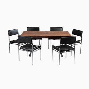 Tavolo da pranzo con sei sedie di Poul Norreklit, anni '60