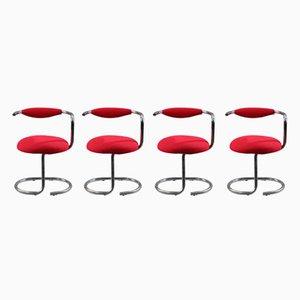 Stühle aus verchromten Metallröhren von Giotto Stoppino, 1970er, 4er Set