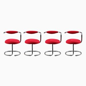 Tubular Chromed Metal Chairs by Giotto Stoppino, 1970s, Set of 4