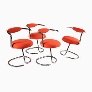 Tubular Chromed Metal Chairs by Giotto Stoppino, Set of 4