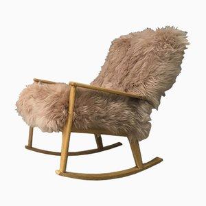 Rocking Chair Vintage en Peau de Mouton et Bois Courbé de Parker Knoll, 1950s