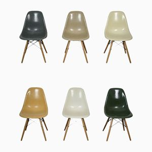 Vintage Fiberglass DSW Chairs by Charles & Ray Eames for Herman Miller, Set of 6