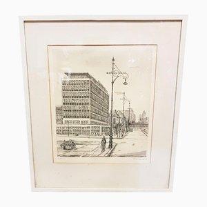 Sérigraphie d'une Architecture d'une Banque Berlinoise de la rue Hardenbergstrasse par Hans Reimar Venske, 1969