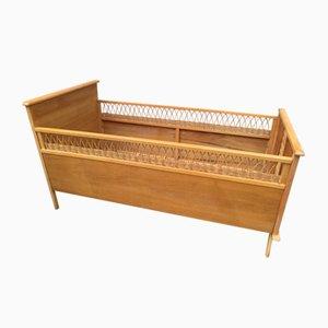 Vintage Wood & Rattan Crib, 1960s