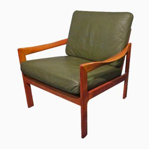 Teak & Leather Lounge Chair by Illum Wikkelslø for Niels Eilersen, 1960s