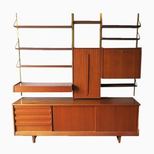 Mid-Century Teak and Brass Modular Wall Unit, 1960s