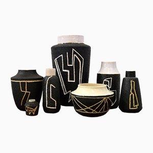 Sgraffito Vasen von Pieter Groeneveldt, 1950er, 2er Set0