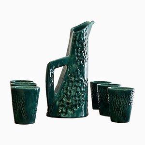 Juego de jarra y seis vasos de cerámica de Pucci, 1955