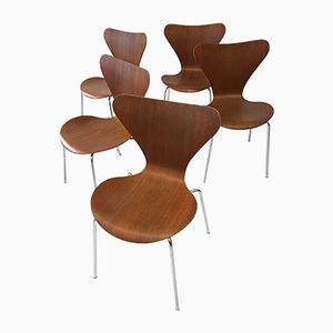 Model 3107 Teak Stacking Chairs by Arne Jacobsen for Fritz Hansen, 1970s, Set of 5
