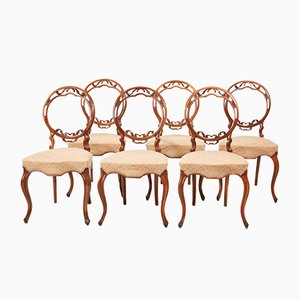 Victorian Walnut Dining Chairs, 1850s, Set of 6
