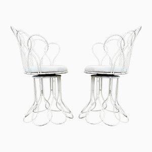 Französische Mid-Century Gartenstühle aus Metalldraht, 2er Set