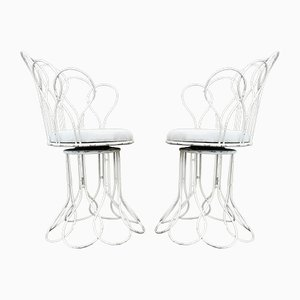 Mid-Century French Metal Wire Garden Chairs, Set of 2