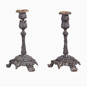 Candelabros de bronce, 1825. Juego de 2