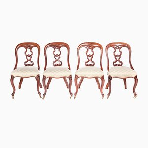 Victorian Mahogany Dining Chairs, 1870s, Set of 4