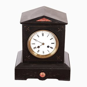 Victorian Black Marble Mantel Clock, 1880s