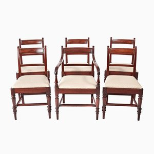 Antique George III Mahogany Dining Chairs, Set of 6