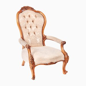 Antique Victorian Carved Walnut Armchair, 1860s