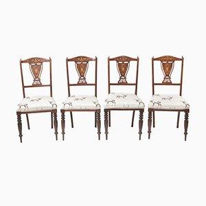 Edwardianische Esszimmerstühle aus Palisander mit Intarsien, 4er Set