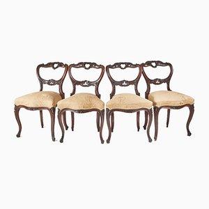 Sillas de comedor victorianas de palisandro, década de 1850. Juego de 4
