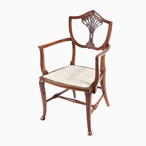 Antique Carved Mahogany Children's Chair, 1890s