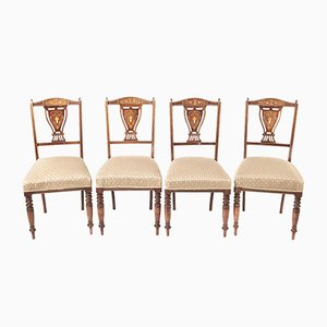 Edwardian Rosewood Inlaid Dining Chairs, Set of 4