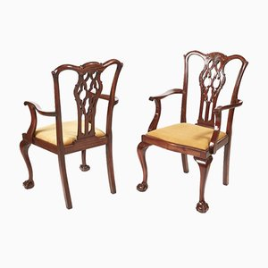 Antique Mahogany Desk Chairs, 1880s, Set of 2