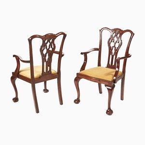 Sillas de escritorio antiguas de caoba, década de 1880. Juego de 2