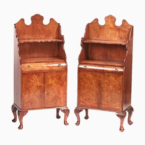 Vintage Burr Walnut Near Side Cabinets, Set of 2