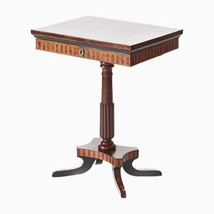 Antique Walnut Marquetry Inlaid Side Table, 1850s