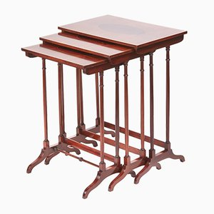 Tavolini ad incastro edoardiani in mogano